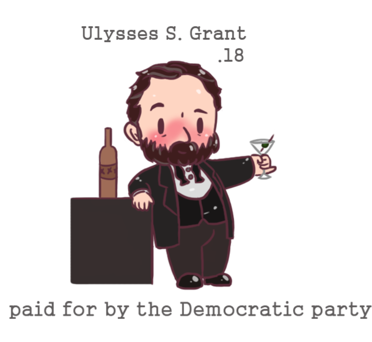 chibi Ulysses S. Grant. I finally have a sponsored chibi ya, this chibi President brought to you by the Democratic party. <3 (The thing about Grant being a b