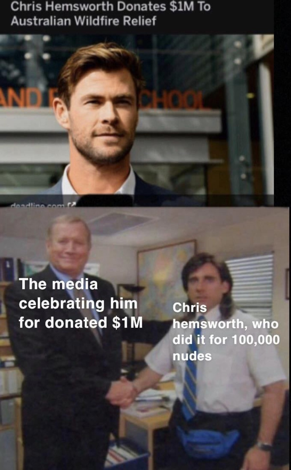 chris. .. If anyone's unaware, there was a chick posting nudes for 10 bucks each, and literally raised up to a million dollars to the fire service.