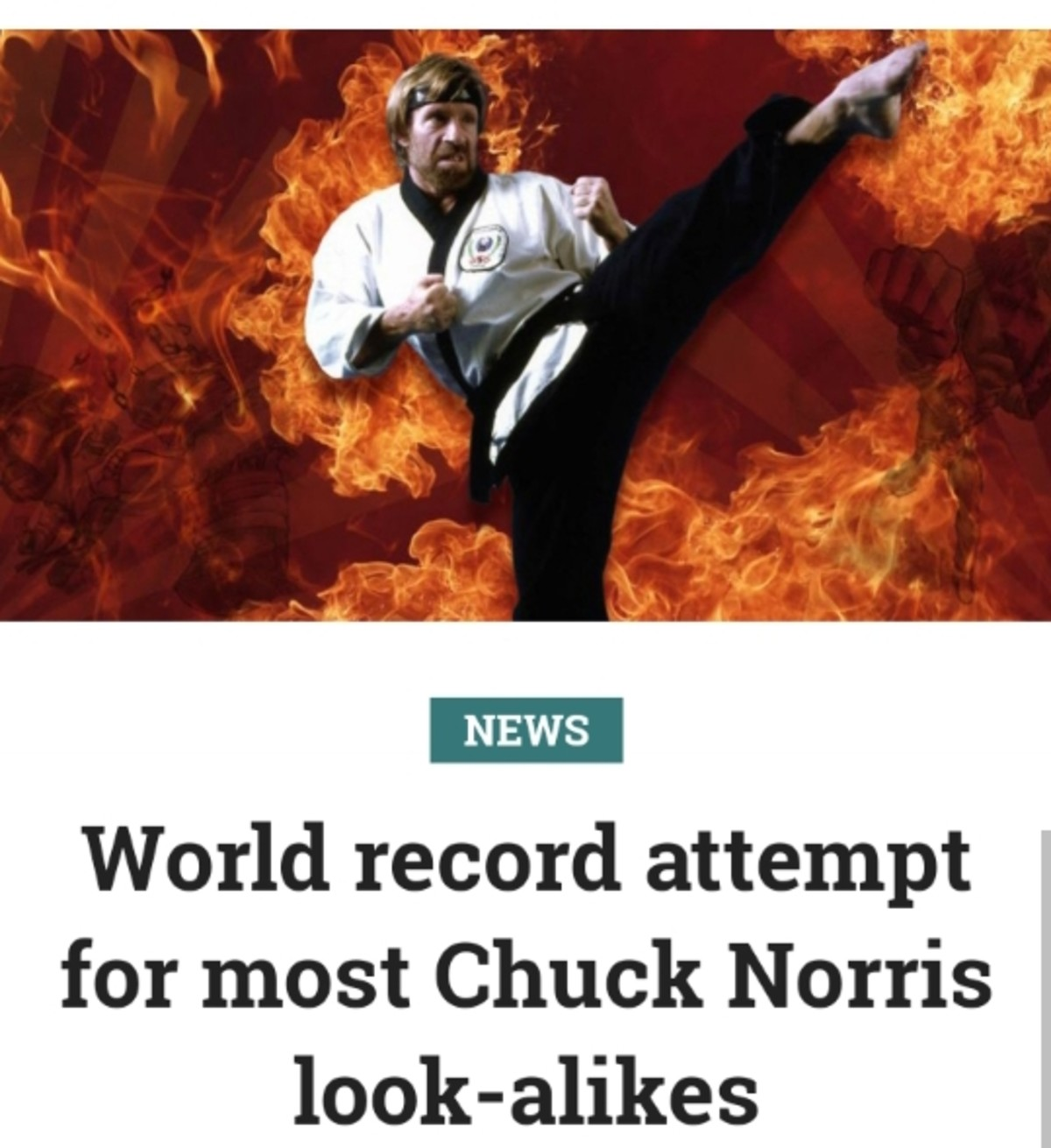 Chuck Norris Attempt at World Record. Chuck Norris is hosting 5k Run in which participants are dressed like him in attempt at world record join list: Texas (166