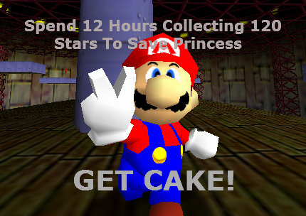 Chump Mario. Mario was not rewarded close to enough for his efforts. Spend 12 Hours Collecting 120 Stars To llt I GET CAKE!. Or you can glitch through it.