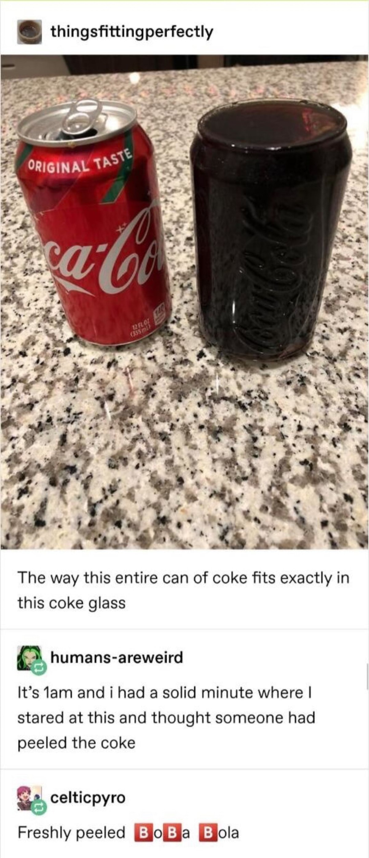 Coke. .. its a glass designed to be the exact same shape of the can what did you expect?