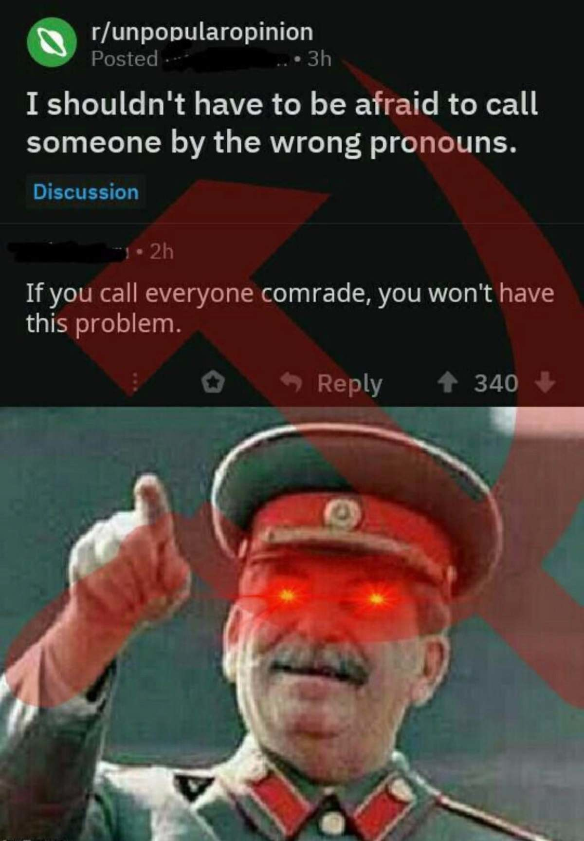 Comrade. .. Or, you can just call everyone and be done with it.