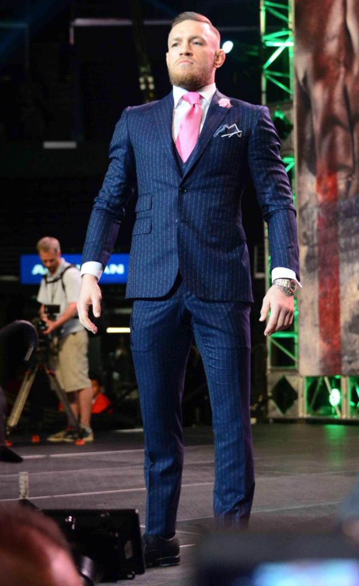 Conor McGregor's 'F You' suit. It's old news but I love this . LOL Honestly if this guy wasn't a champion ass-beater this would be edgy troll for sure..
