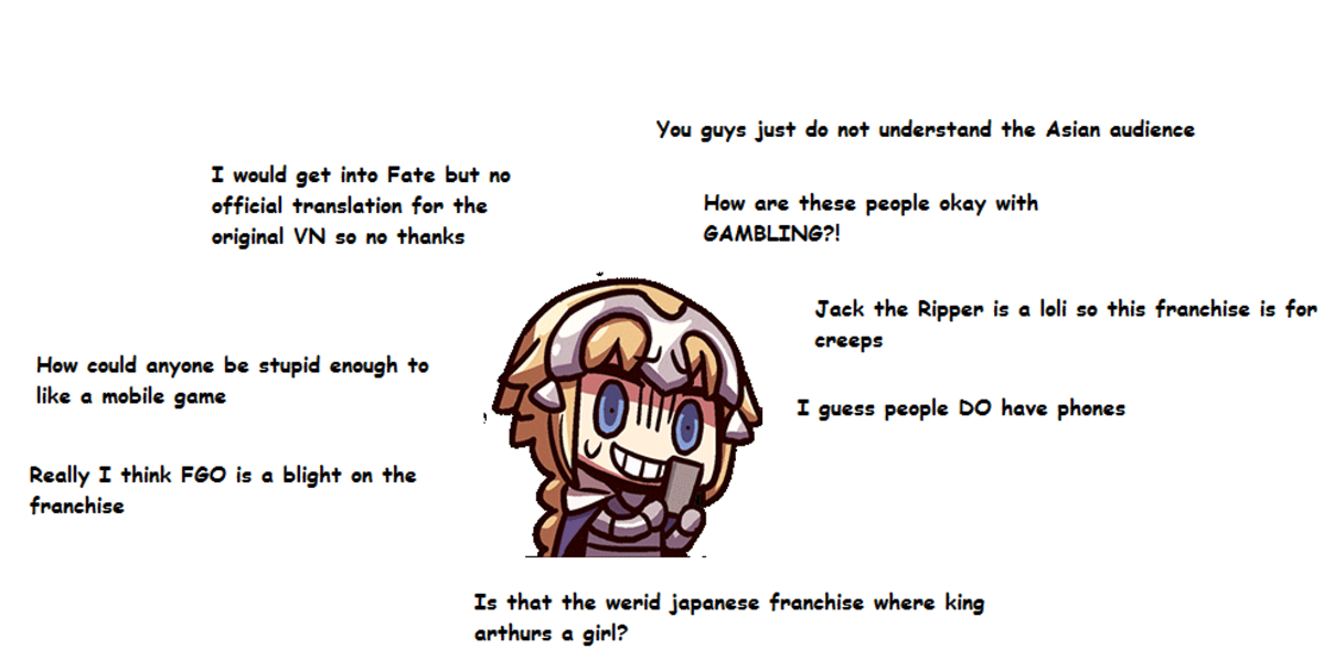 Das Me. .. Pretty much the only Fate series that was mainstream was Fate/Zero because muh grit muh grimdank muh morally questionable protagonist. Not that Fate/Zero wasn't