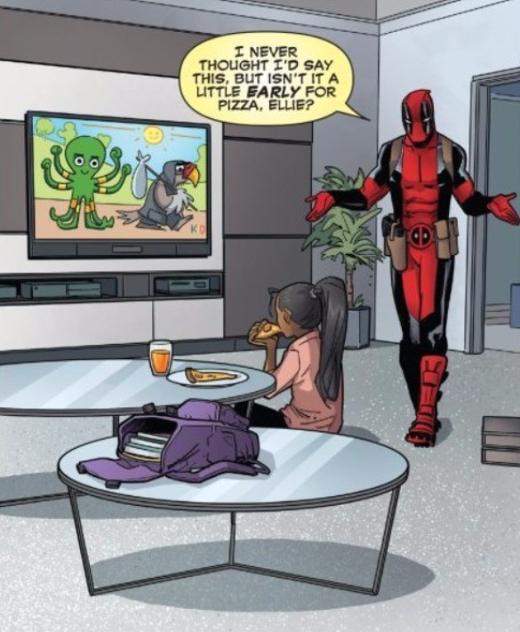 daughter. join list: Cartoonsandlolis (1650 subs)Mention History.. wait deadpool with his child what the hell is this?