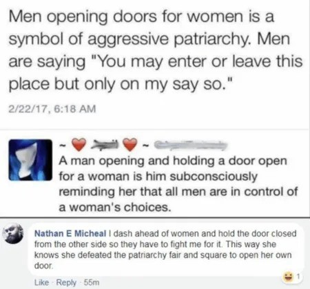 """Deep in the Subconscious"". .. I guess that means every man in Canada is a sexist pig then because we spend about 40% of our lives holding doors open for other people, the other sixty percent"