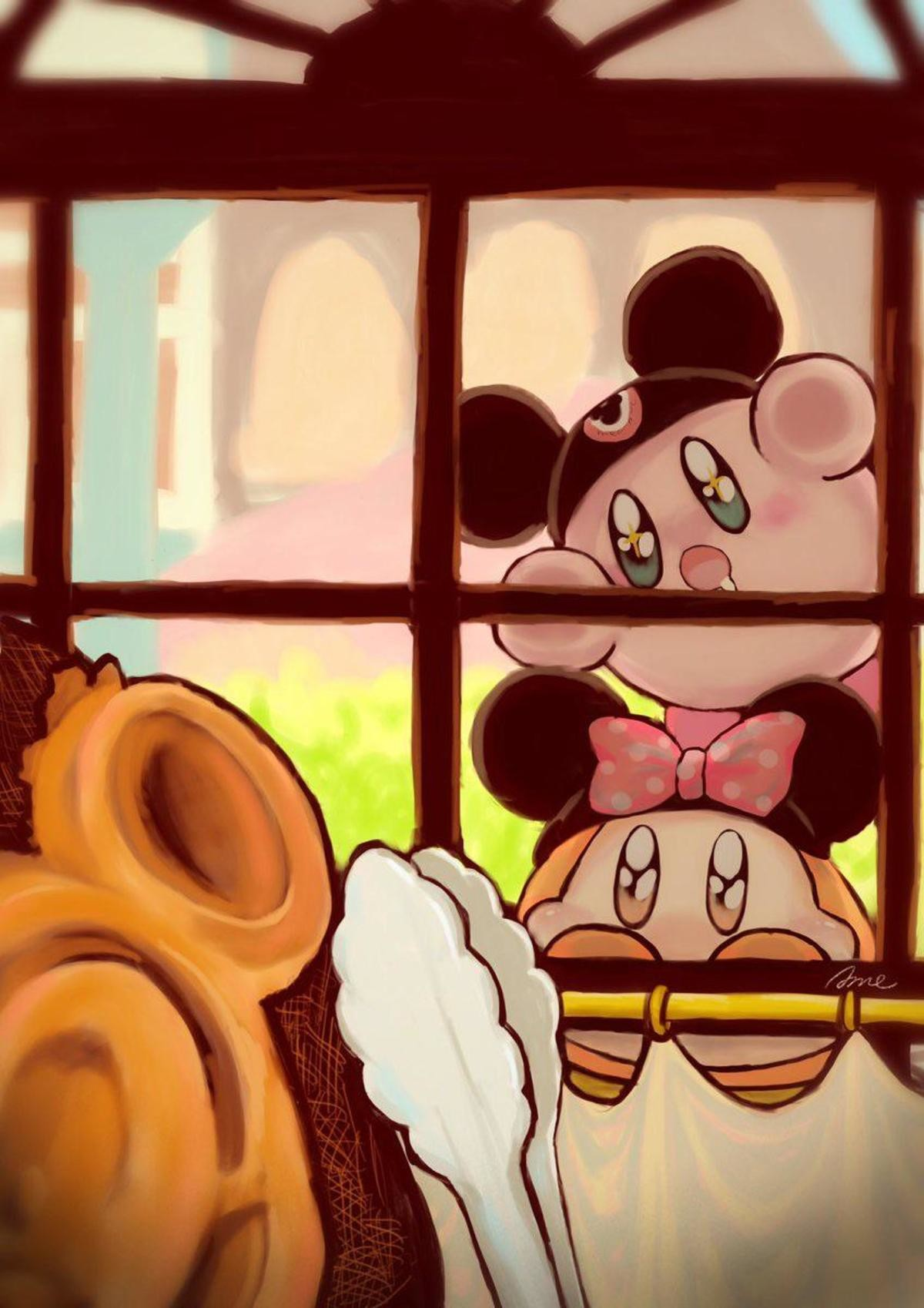 Disneyland!. .. I want a whole series of comics about kirby, Bandana dee, Deedeedee and metaknight going to disney