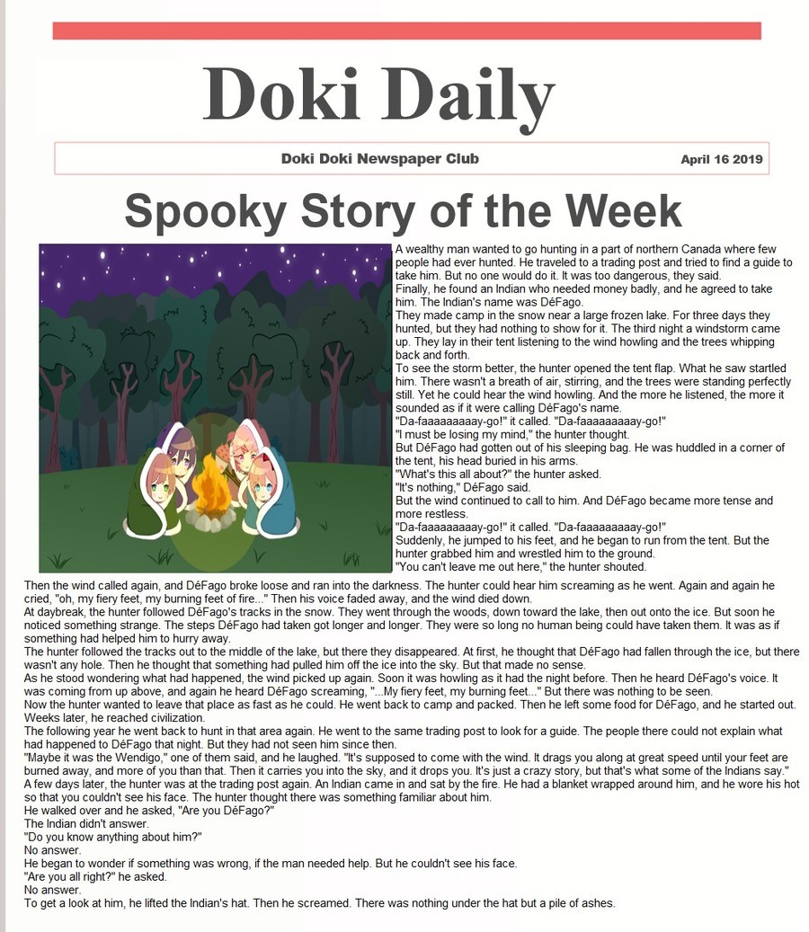 Doki Daily VIII. join list: DokiDaily (17 subs)Mention History.. Neat story. Aside from being on a 'Doki' weeb thing, it was enjoyable. Reminds me of all those innawoods green text stories.