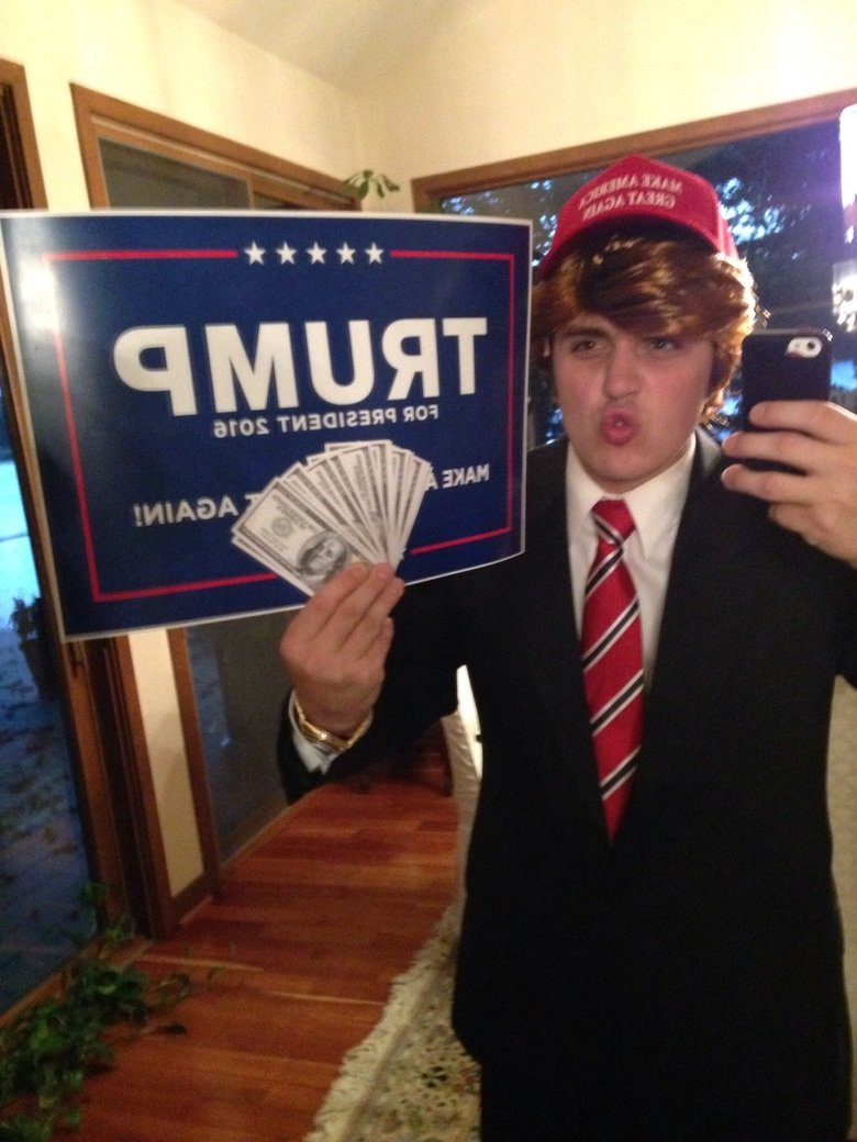 "Donald Trump Halloween Costume!!. My homemade Donald Trump Halloween costume! 1: ""Make America Great Again"" hat 2: Realistic Play Money 3: Fake Gold R"