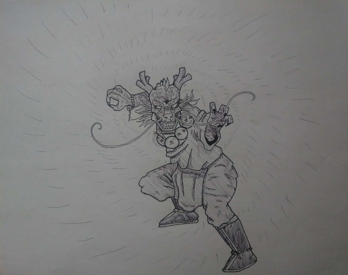 Dragin born Inktober day 12. Prompt was Dragon. Decided to make a Shenron Dragon born monk complete witb Dragon balls. He aint gonna ressurect Yamcha again with
