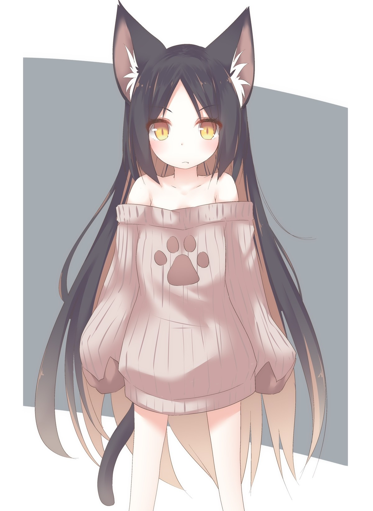 Ear rubs pls. www.pixiv.net/i/74079964.. There is nothing holding that sweater up.