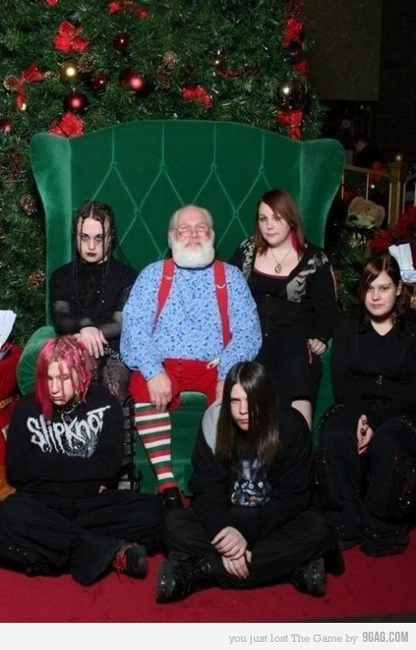 emo santa. these are the kind of people i actually hang out with..... less conformist than regular santa