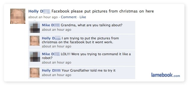 Facebook Commands. AIUHDFUAHFH THANKS FOR GETTING ME UP TO LEVEL 25 ME SO HAPPIEEEEEE. Holly D . Fat: ebook please put pictures from christmas on here about an