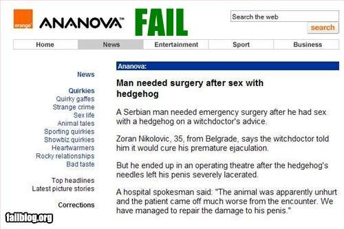 Fail Of Epic Proportions 4. Five + Thumbs for moar!. Intime ti. pait. s' spun Eulalie's Hews than needed surgery after sex with ithe A Serbian man needed surger