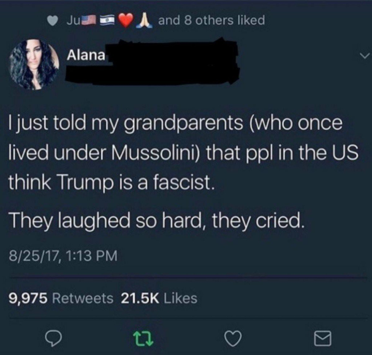 Fascist trump?. . Must told rally/ grandparents (VI/ roto C) n( C)( iii) lived under Mussolini) that ppl in the Ljs) think Trump is a fascist. They' laughed so