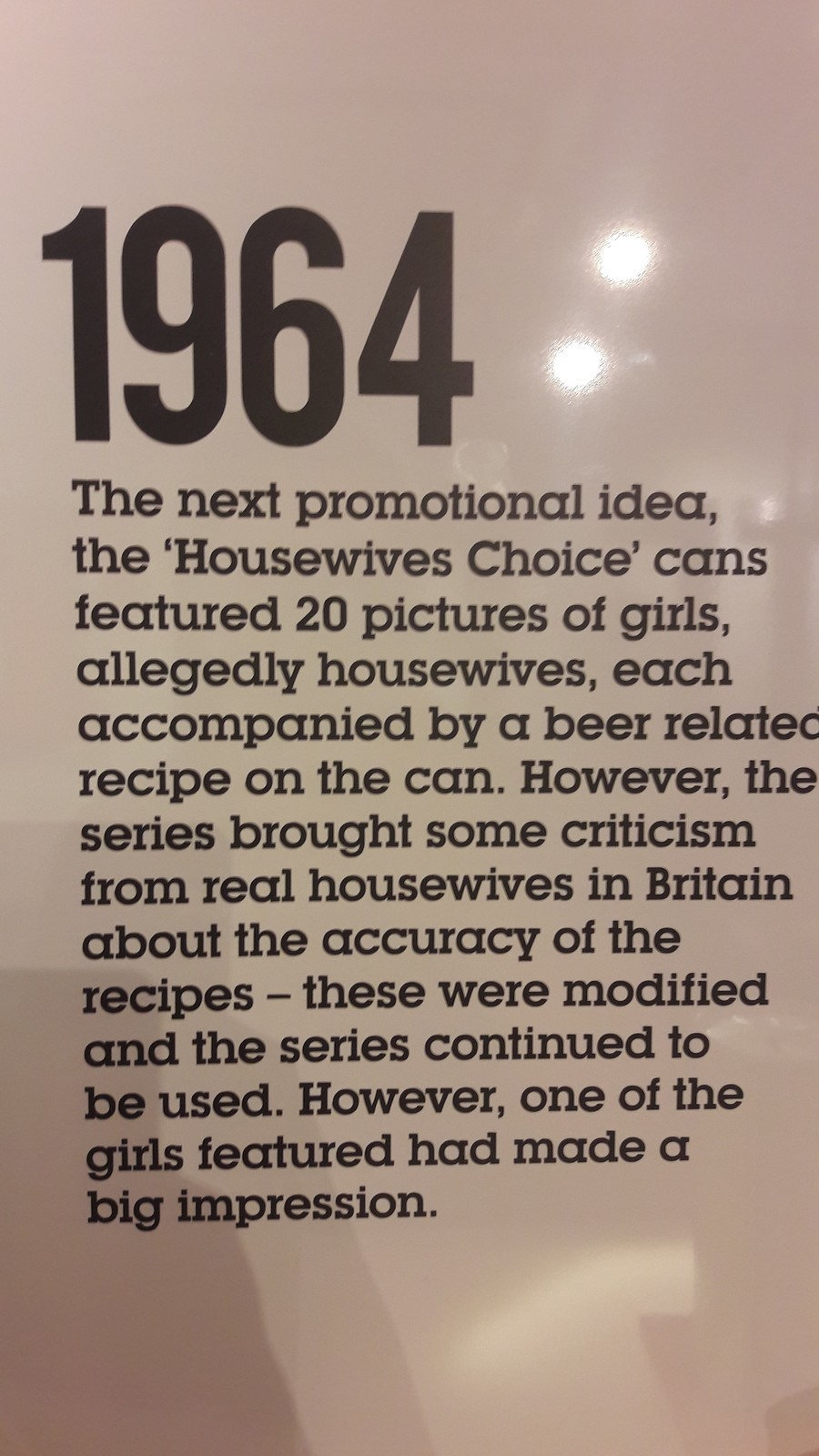 Feminism then. Promotional idea for Tennents Lager Beer Photo taken in the Tennens brewery, Glasgow. 1964 The next promotional idea, the 'Housewives Choice' can