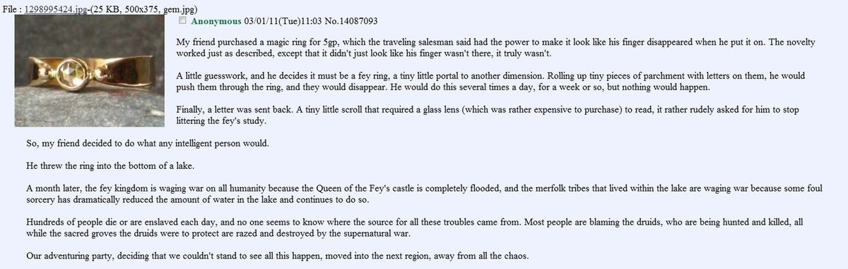 fey ring. join list: Chanoholic (311 subs)Mention History.. I mean. why not just go find the ring?
