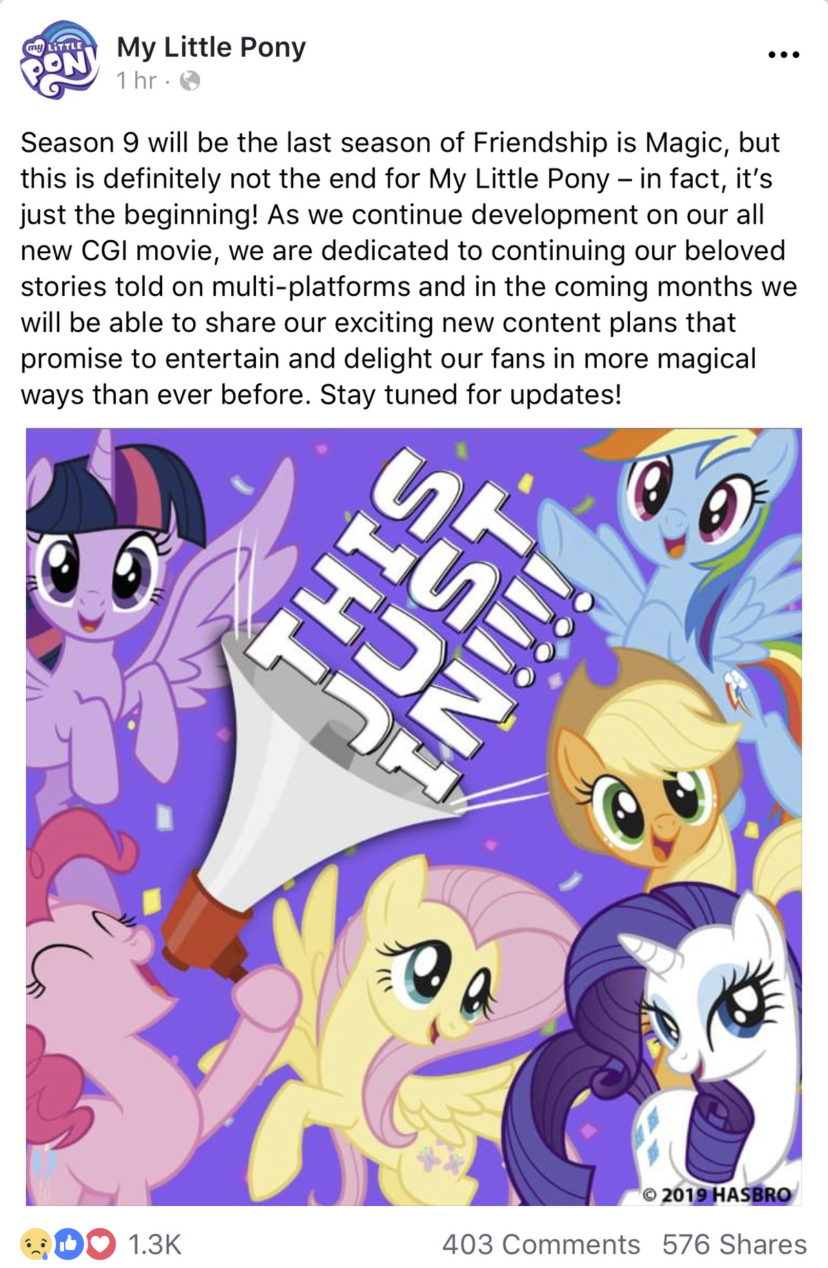 Final word. Everyone expected it but today they finally said it. MLP is done, don't know about you guys but Im gonna be cutting ties with everything mlp afterwa