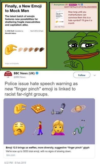 Finally a new emoji to mock....racism?. .. >4chan post made Feb 7th >BBC article made Feb 8th