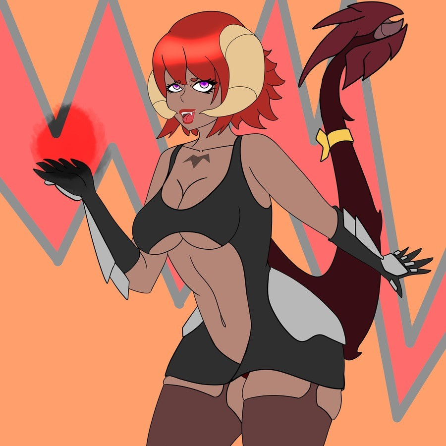 """Finally Decided to redraw my OC. Her name is Rashkani but also named Rashy for short I made her years ago she is supposed to be a failed succubus with a """"q"""