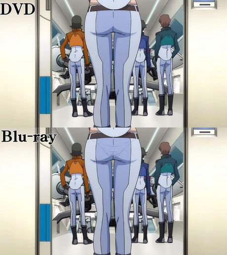find the difference. yea blu-ray.. Those panties are barely even seen! Whats the point of even showing them if its using that method! If they're going to defy pants physics then they should remov