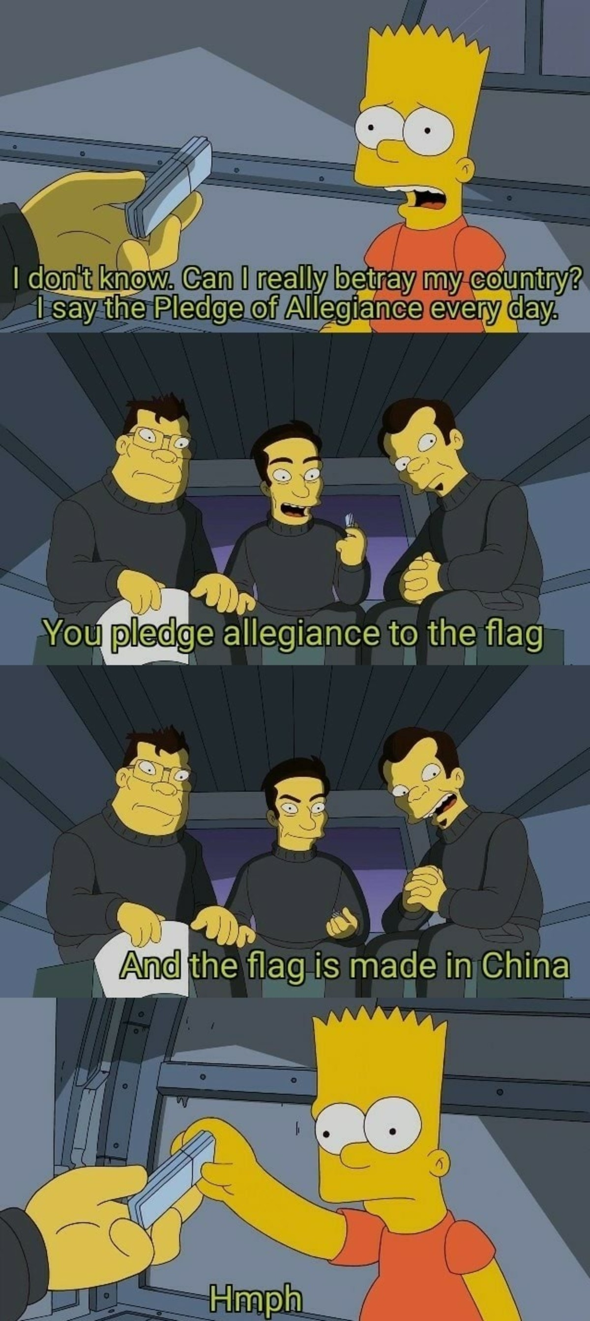 Flag. .. i wonder how the koreans feel when they have to purposely animate simpson asians to look extra stupid