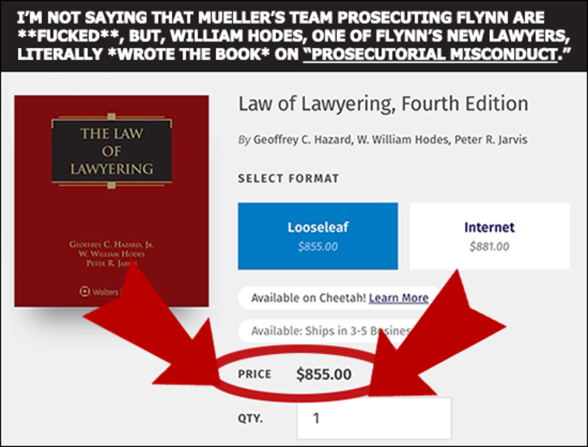 Flynn's Lawyer. Flynn's Lawyer literally wrote the book on prosecutorial misconduct. This will be fun... Why is an internet copy only 4 dollars less? Also, who is the guy?