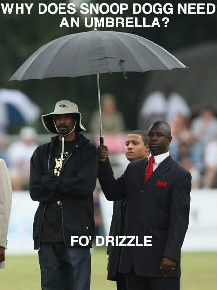 Fo' drizzle. ........ WHY DOE% NOOP DOGG NEED D IZZLE. Why the would u need somebody to hold ur umbrella ?? I mean c'mon...