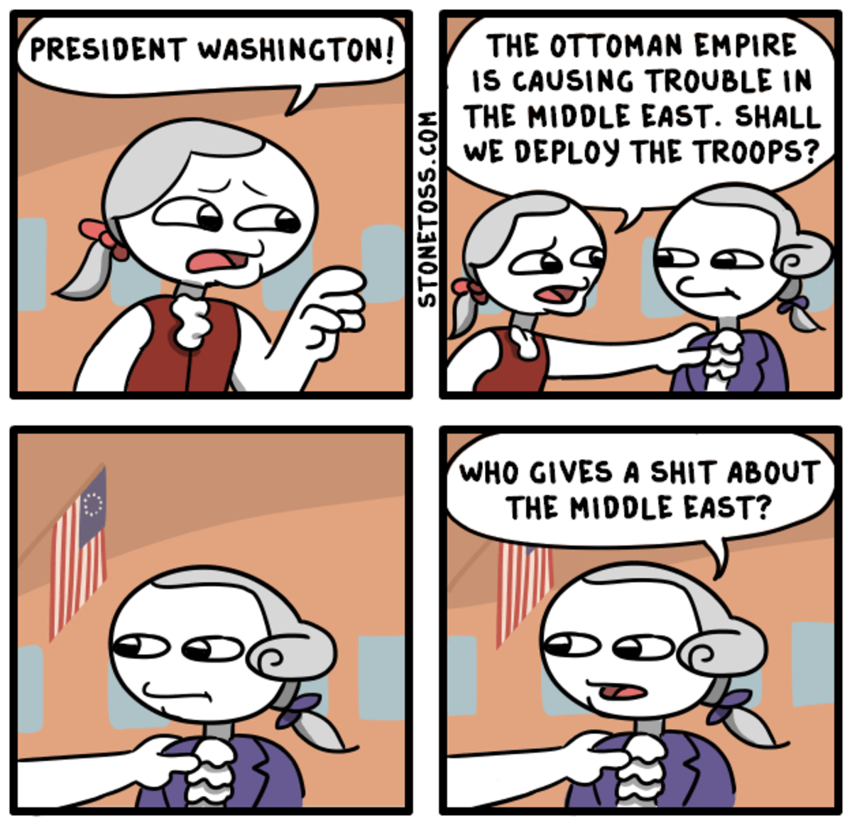 """Founding Bothers. See more comics, visit: . PRESIDENT ' '. i, OTTOMAN EMPIRE TROUBLE Ill riff] """"IDLE EAST... SHALL lth' ) TROOPS? GIVES A SIEHT ABOUT NOBLE EAST"""