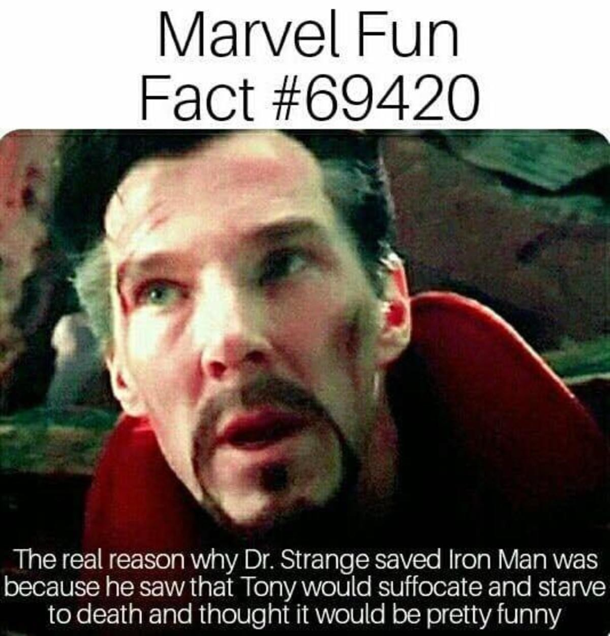 Funny joke. .. Wish he was in Civil War so I could see him take Caps side out of spite.