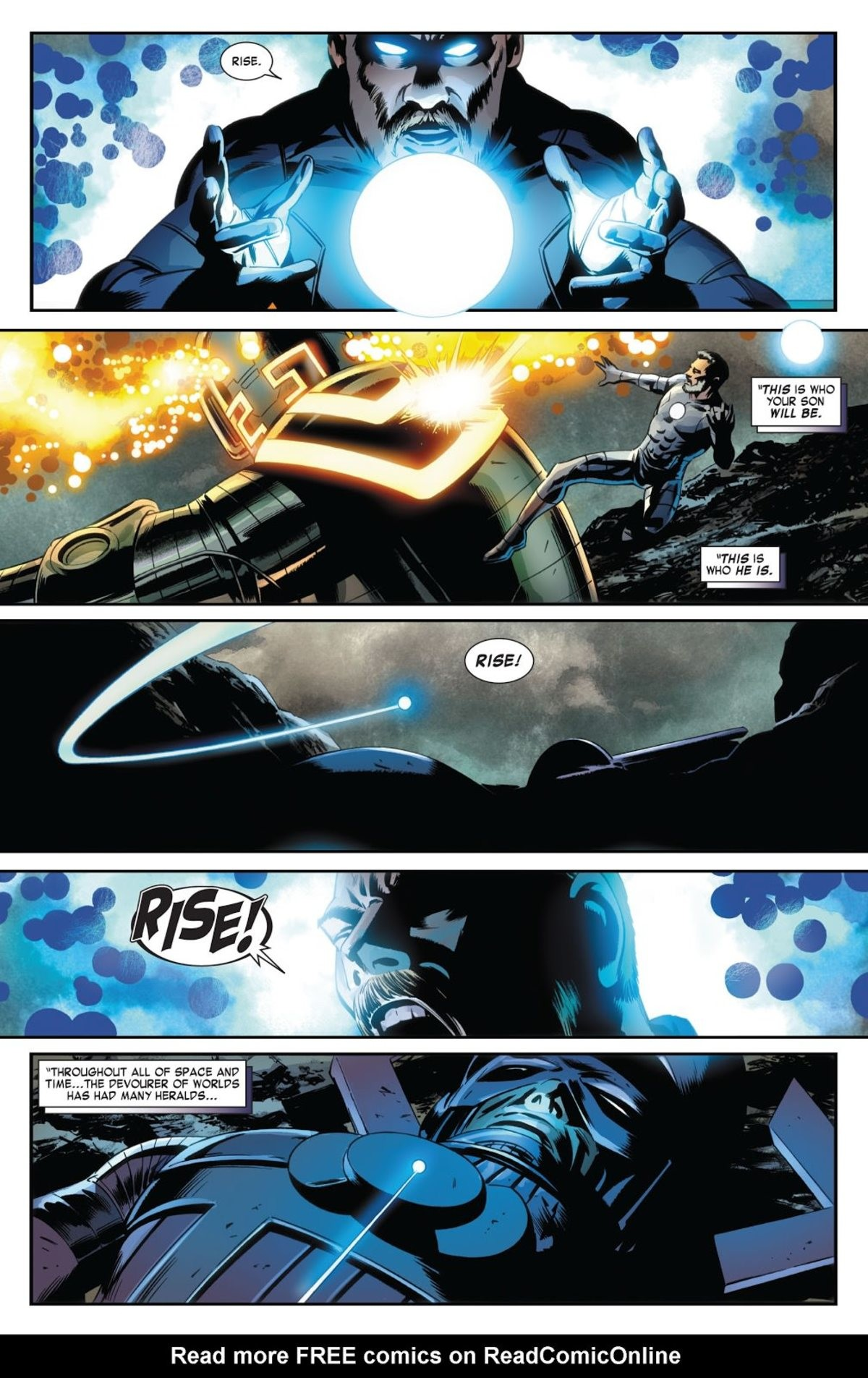 """Galactus becomes a herald. . WHO HE IS. THROUGHOUT ALL """" SPACE AN!' THE DEVOURER OF WORLDS HAS HAD MANY ... Read more FREE comics on. Oh yeah this scene and story are cool. Franklin Richard showing the Celestials whose boss and making Galactus his bitch."""