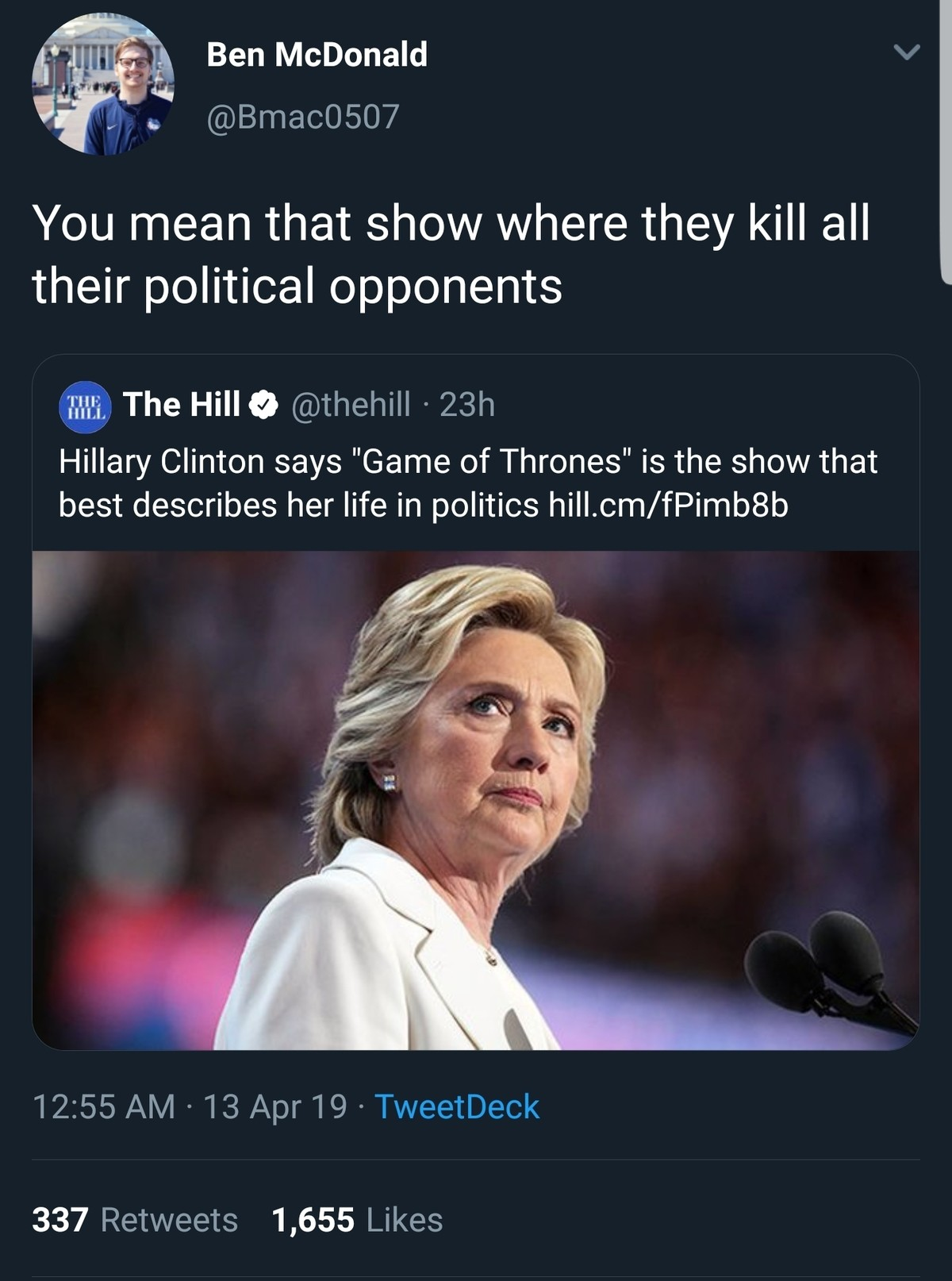 Game of Thrones. .. It's funny because dozens of people involved with her have committed suicide.