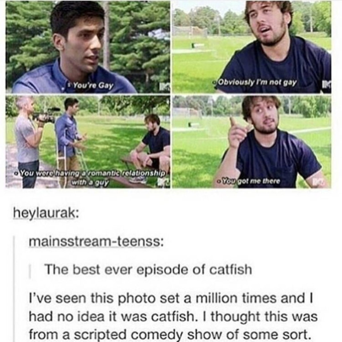 gay. .. they left out a bit, mostly the catfishing bit