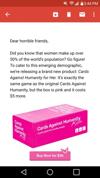 Image of: Cardcast Spacebattles Forums Gender Marketing By Cards Against Humanity