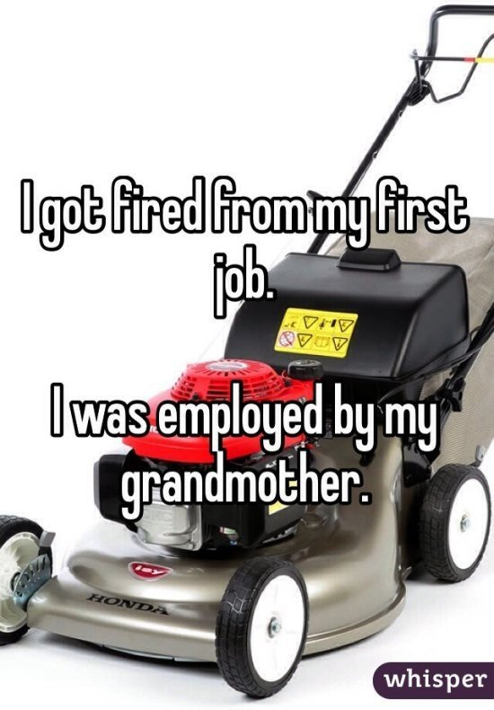 "Getting fired. Funny stories about people and jobs.. viii"" by Jill, whisper. It's okay lawnmower, Grandmas are tough sometimes. But buck up, the grass is always greener on the other side."