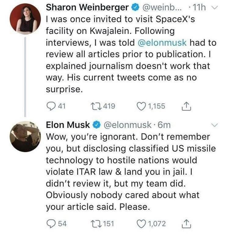 God Emperor Musk Is Sick Of Peoples Scummy Bull. . Sharon Weinberg's 9 @weine... - -xx I was once invited to visit Spacers facility on . Following interviews, I