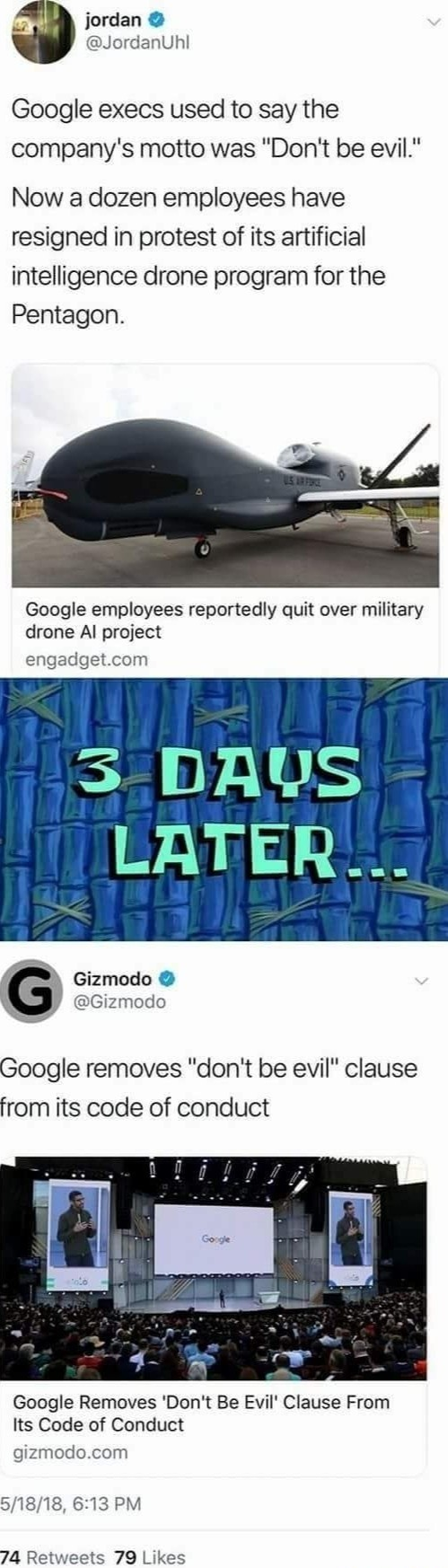 google does a thing. .. Evil pays