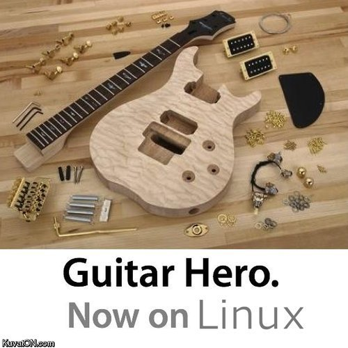 Guitar hero now on linux. sorry if this offends you.. e q In Guitar Hero. Nowon Linux. on mac : same except everything sold separately
