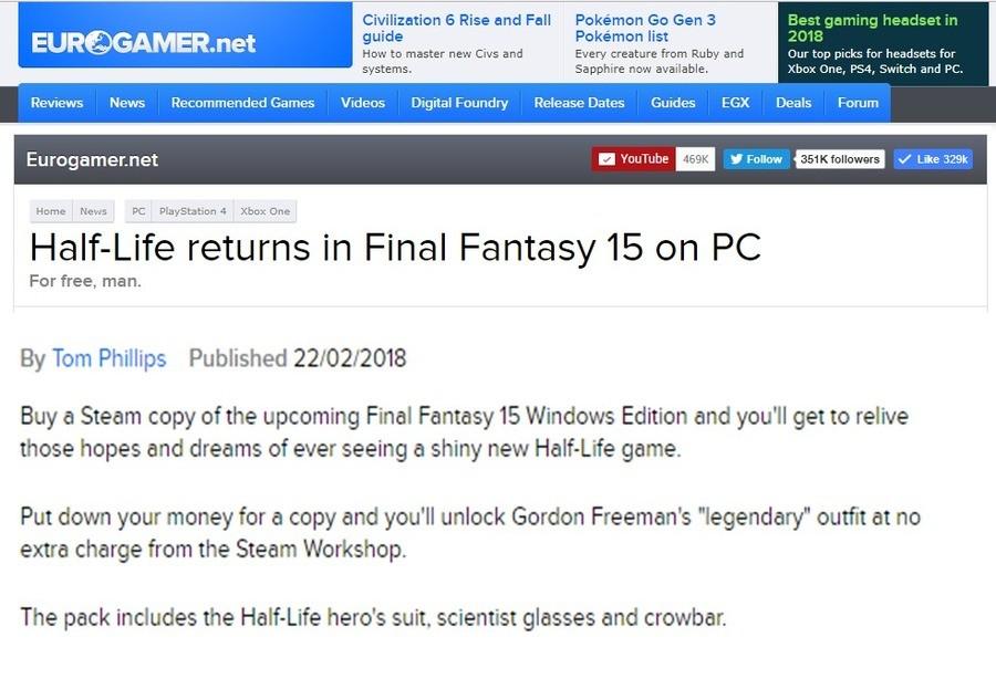 Half a fantasy. http://www.eurogamer.net/articles/2018-02-22-half-life-returns-in-final-fantasy-15 join list: VideoGameHumor (1692 subs)Mention Clicks: 566467Ms