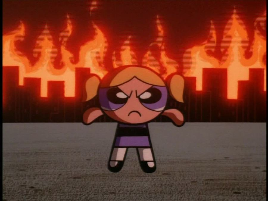 HARDCORE!!!. Yes, you may as well be missing all this (and especially all this brutality) in the 2016 Powerpuff Girls reboot, but... In a 90s episode of the Pow