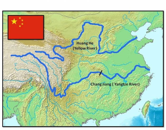 History Lesson 1.4 (Ancient China). Ancient China was built along the two main rivers: first the Yellow River (Huang He) in the north, and later the Yangtze in