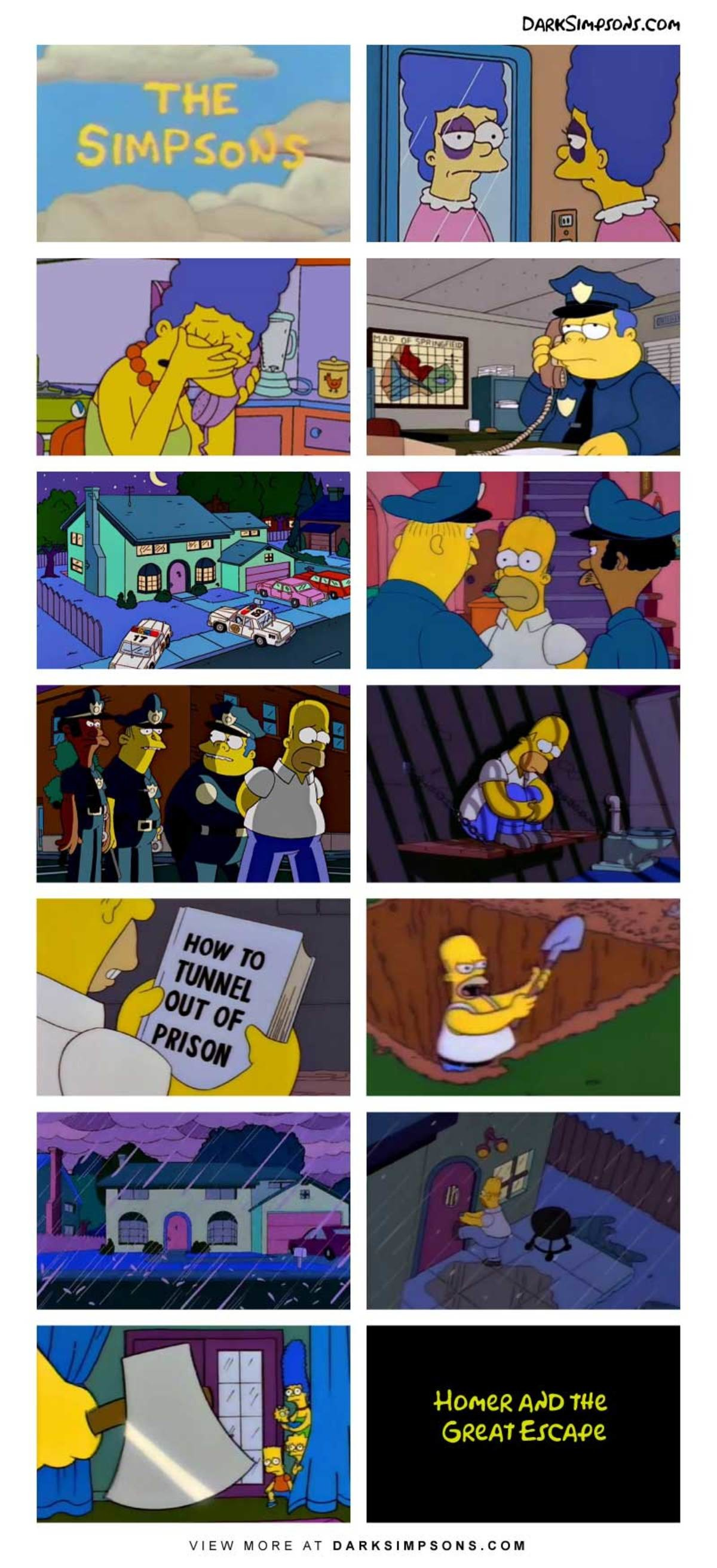 Homer: I'll kill your whole family!. . r. con Home Mo we Eccept VIEW MORE AT . COM. >Homer tunneling out of prison >Homer doing physical exercise Now I've seen everything.