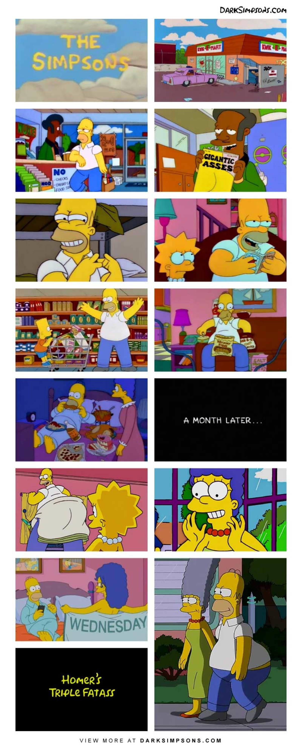 Homer: Kiss my curvy butt goodbye!. . A MONTH LATER Pomey' f VIEW MORE AT . COM
