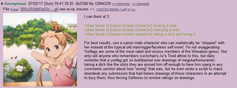 how to make yurifags mad. join list: Chanoholic (311 subs)Mention History.. Take a canon lesbian and draw her cutting down trees and eating bread