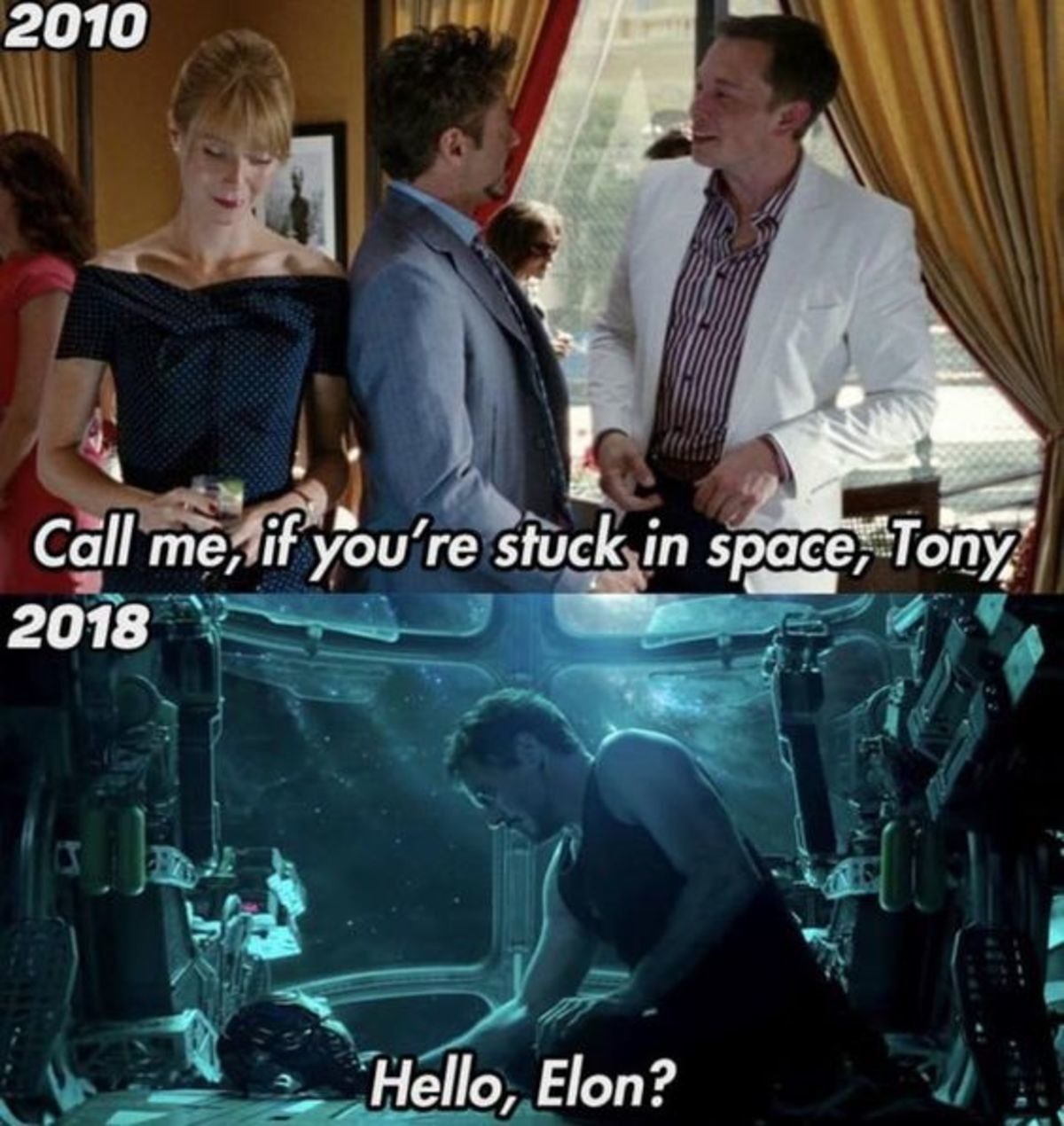 How Tony gets back to Earth. .. stark just calls an uber and musk shows up