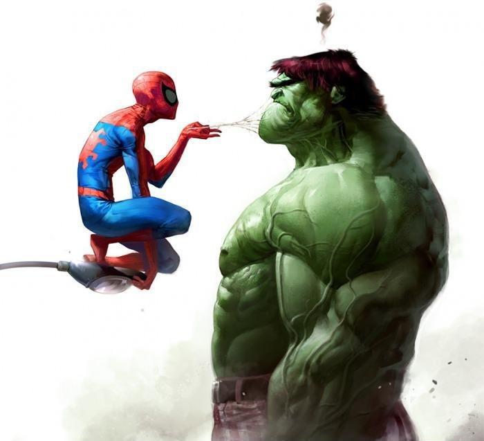 HULK vs Spiderman!. .. Hulk has always liked spiderman.