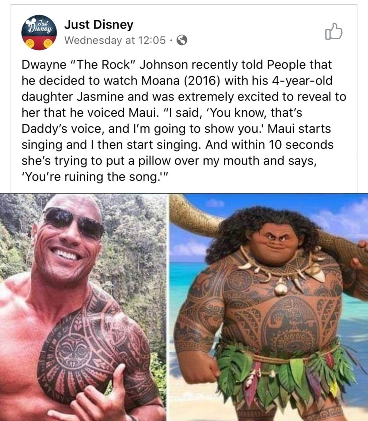 I don't know if it's true but if so it's hilarious. .. and adorable. Like Terry Crews, Dwayne Johnson has a big heart to power all this muscle.Comment edited at .