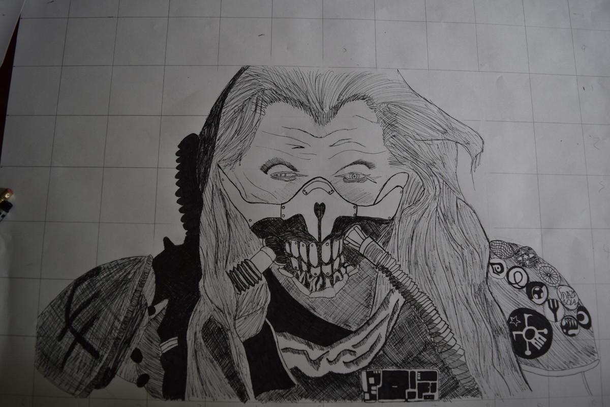 I MADE SOMETHING. I drew Immortan Joe from Mad Max Fury Road! OC!.. S H I N Y A N D C H R O M E