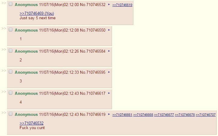 I tried to count to 5 with /b/. /b/ tried to count to 5 Also, join my mentionlist!! join list: FunnyJunkers (5 subs)Mention History