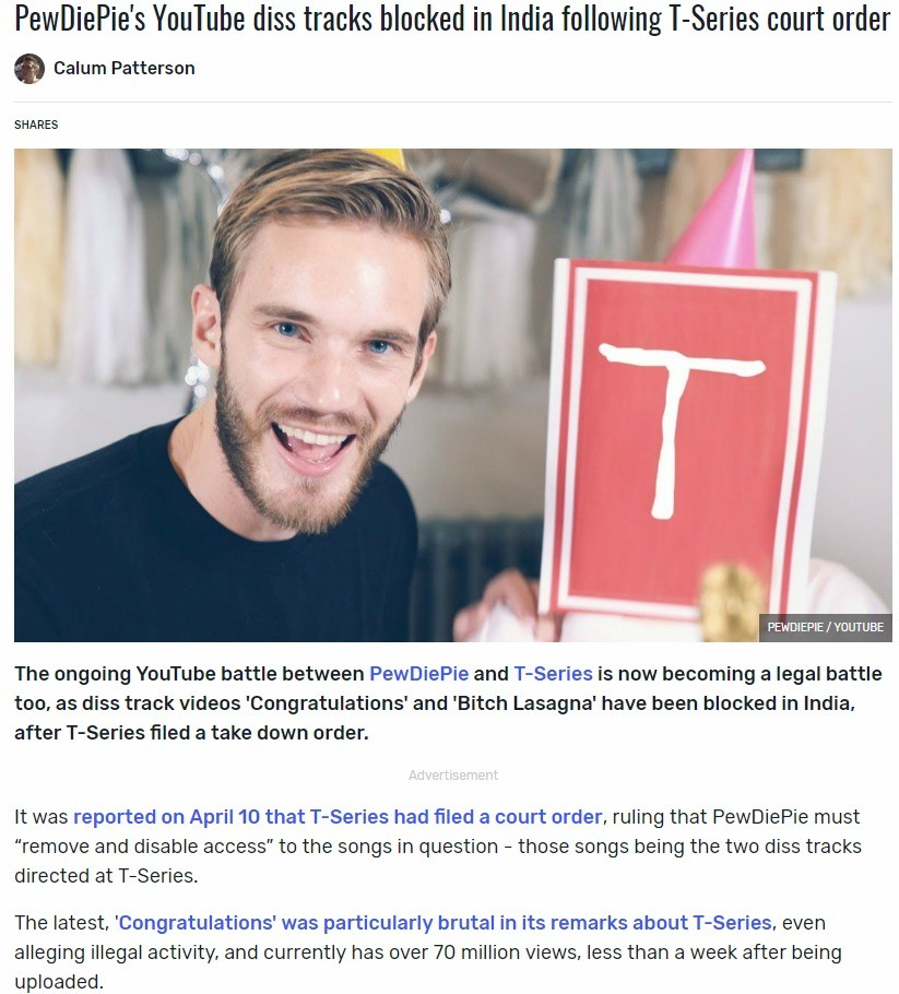 India can't handle banger songs. https://www.dexerto.com/entertainment/pewdiepie-youtube-diss-tracks-reportedly-blocked-in-india-after-t-series-court-order-5369